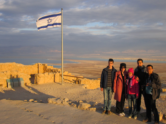A beautiful winter sunset on Masada