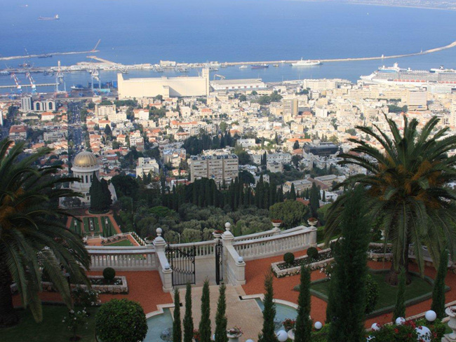 Bahai Gardens and Haifa Bay