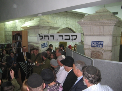 Chanuka candle lighting at Kever Rachel