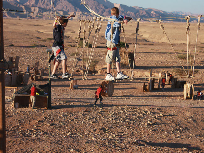 At this height, they can't reach us. Eilat Rope & Paintball Park