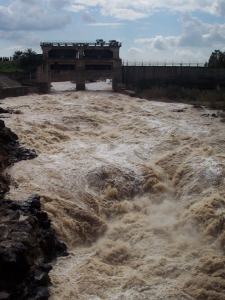 The rare sight of opened floodgates at Naharayim