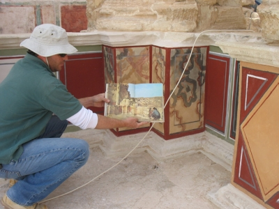 Restoration of frescoes at Herod's palace, Masada